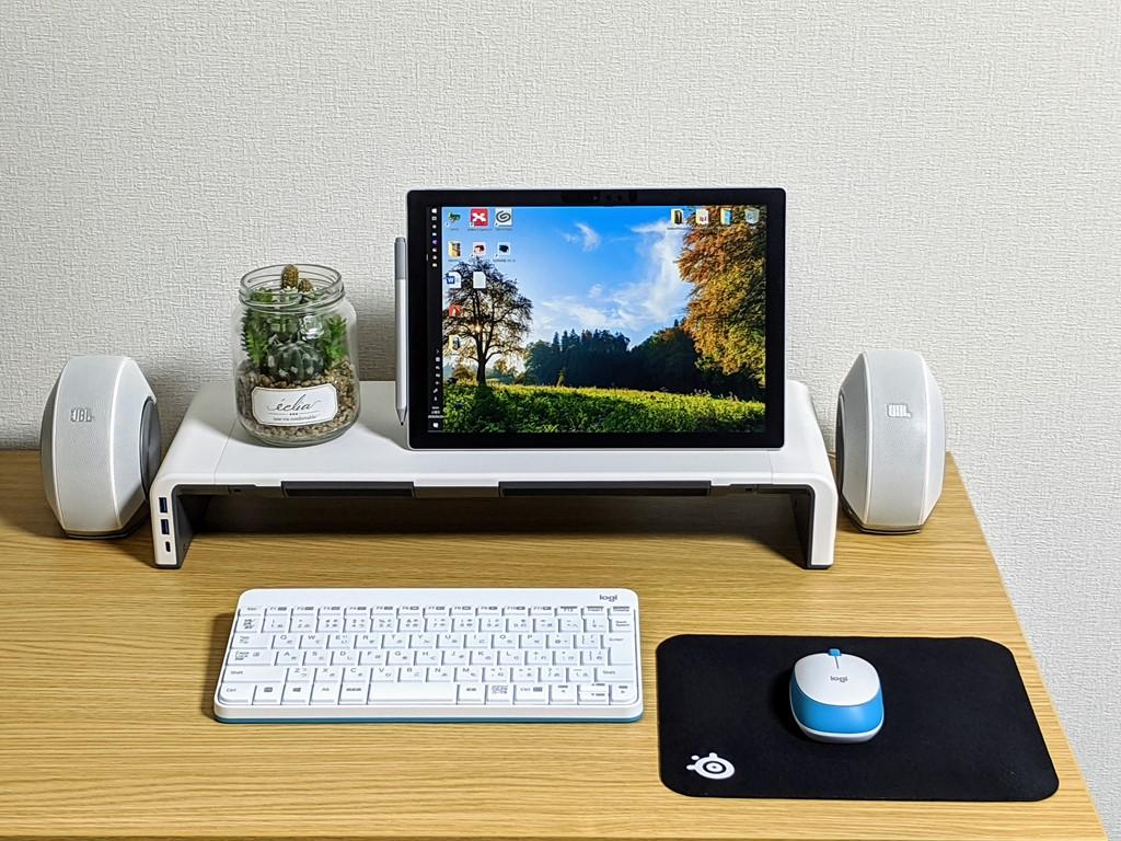 【工匠藤井 モニター台 レビュー】USB3.0ハブ・引き出し付きでデスクの利便性をアップ